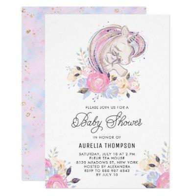 Mother and Baby Unicorn Glitter Baby Shower Invitations