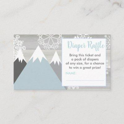 Mountain snowflake diaper raffle ticket rustic enclosure card