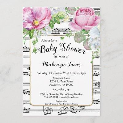 Printable or Printed Music Note Watercolor Floral Bridal Shower Invitations Sheet Music Shower Invitation Music Bridal Shower Invitation