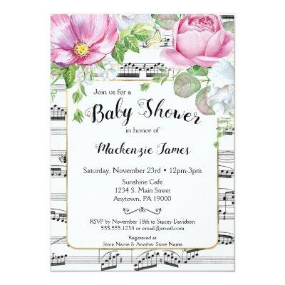 Music Floral Baby Shower Invitation Pink White
