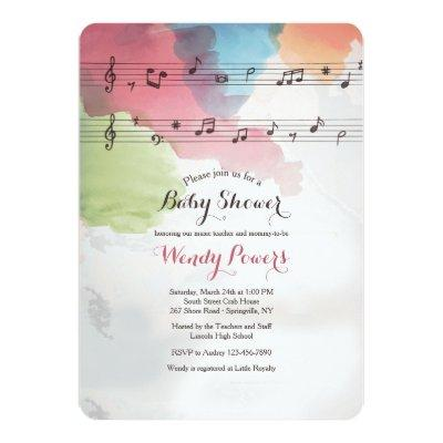 Music on Watercolor Paper Invitations