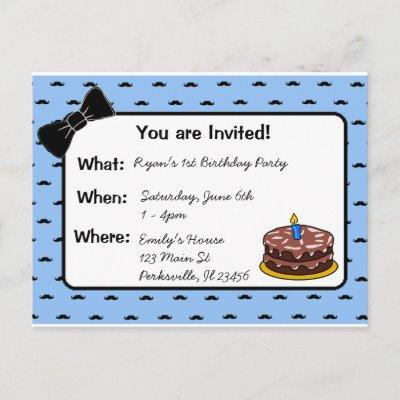 Mustache and Bow tie 1st Birthday Invitations