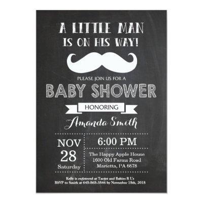 Mustache Baby Shower Invitations Chalkboard