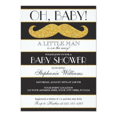 Mustache Baby Shower Invitations - Little Man