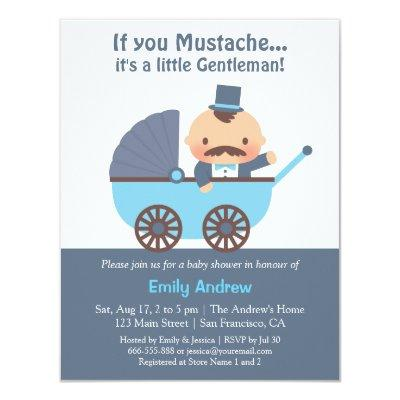Mustache Gentleman Baby Boy Shower Invitations