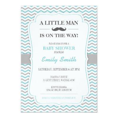 Mustache Little Man Invitations