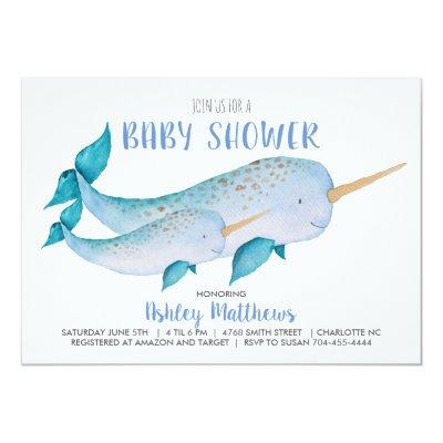 Narwhal baby shower invitation