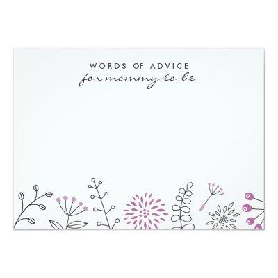 Nature doodle purple baby shower advice card