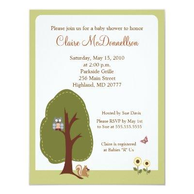 Nature Woodland Earthy Baby Shower Invitations