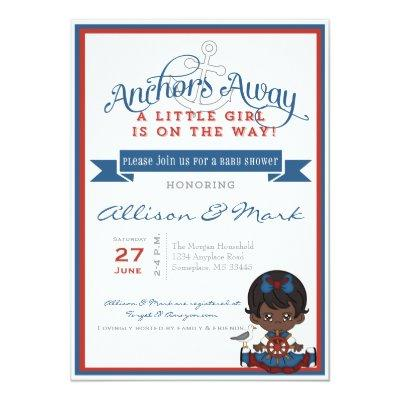 Nautical African American Baby Shower Invitation