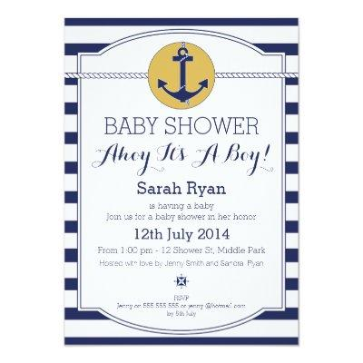 Nautical Ahoy It's A Boy Baby Shower Invitations