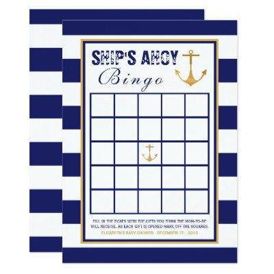 Nautical Anchor Baby Shower Bingo Invitations