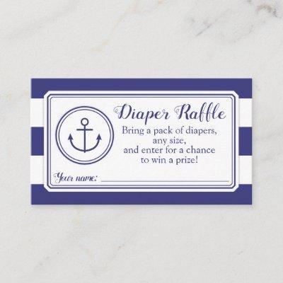 Nautical Anchor Baby Shower Diaper Raffle Ticket Enclosure Card