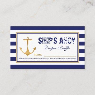 Nautical Anchor Baby Shower Diaper Raffle Ticket Enclosure Invitations