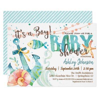 Nautical Anchor Baby Shower Invitations, Boy Invitations