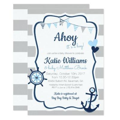Nautical Anchor Blue Boy Baby Shower Invitations