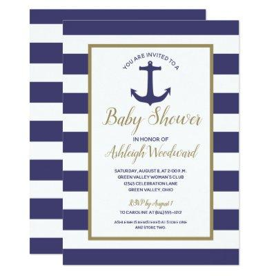 Nautical Anchor Navy Blue Stripes Boy Baby Shower Invitations
