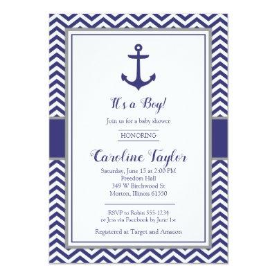 Nautical Anchor Navy Gray Baby Shower Invitations