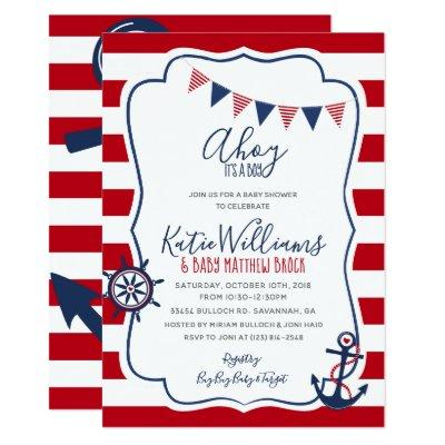 Nautical Anchor Red White Blue Boy Baby Invitation