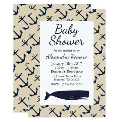 Nautical Anchors & Whale Baby Shower Invitation