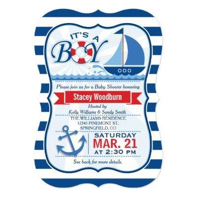 Nautical Baby Shower; Blue & White Stripes Invitation