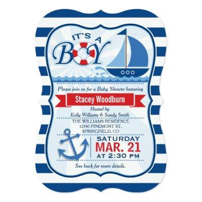 Nautical Baby Shower; Blue & White Stripes Invitations