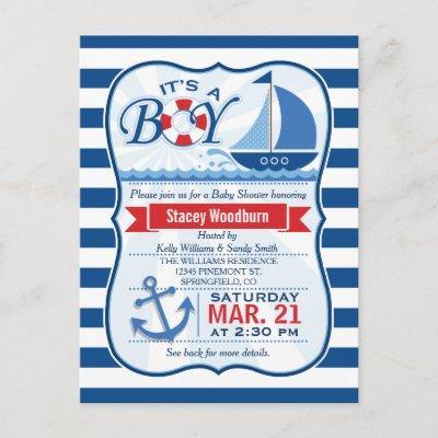 Nautical Baby Shower; Blue & White Stripes Invitation Postcard