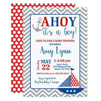 Nautical Baby Shower Invitations Ahoy Its A Boy