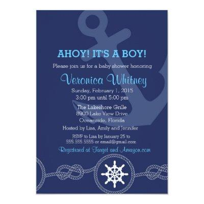 Nautical Baby Shower Invitation, Ahoy! Its a Boy! Invitation