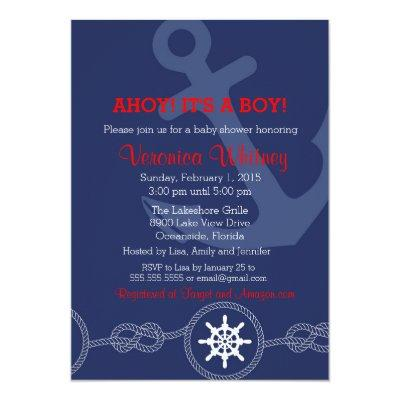 Nautical Baby Shower Invitations, Ahoy! Its a Boy! Invitations