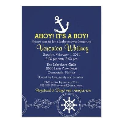 Nautical Baby Shower Invitation, Ahoy! Sailing Invitation