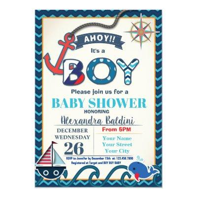Nautical Baby Shower Invitations for a Boy