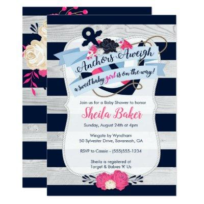 Nautical Baby Shower Invitation - Girl