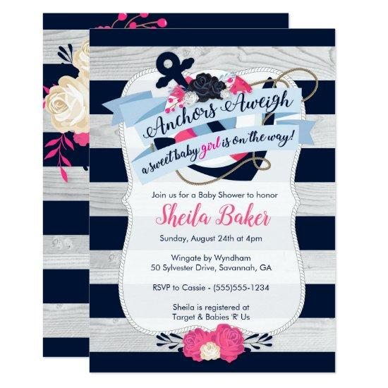 Nautical Baby Shower Invitations - Girl