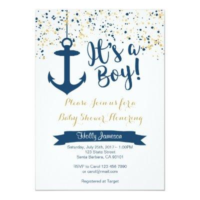 Nautical - Navy and Gold Invitations