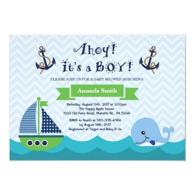 Nautical Baby Shower Invitations Navy Gree and Blue