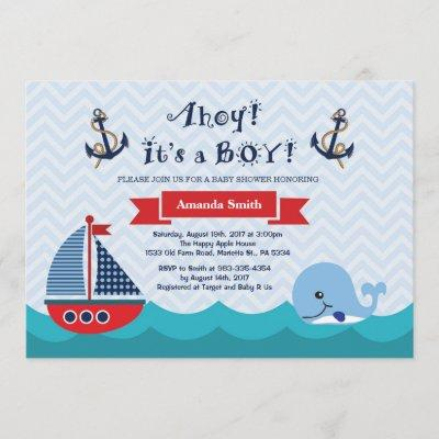 Nautical Baby Shower Invitation Navy Red and Blue