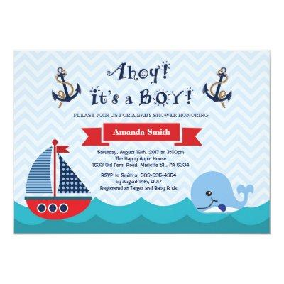 Nautical Baby Shower Invitations Navy Red and Blue