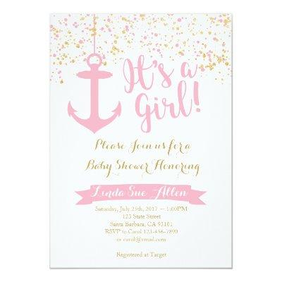 Nautical Baby Shower Invitations- Pink and Gold Invitations
