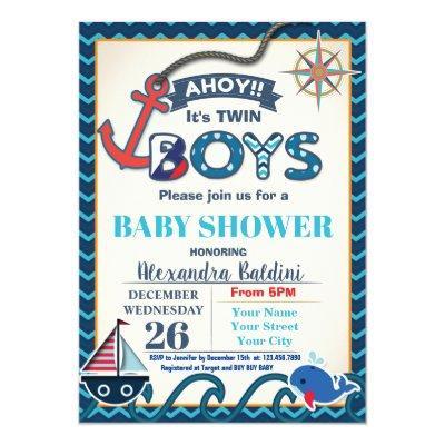 Nautical Baby Shower Invitation Twins