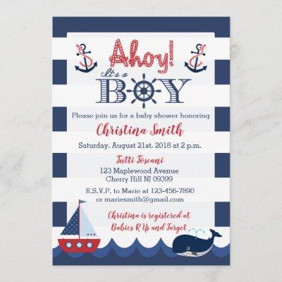 Nautical Baby Shower Invitations Boy