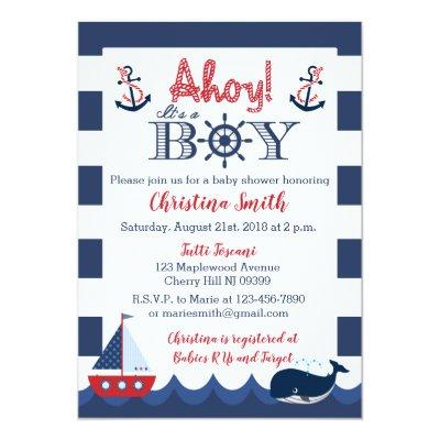 Nautical Baby Shower Invitations Boy