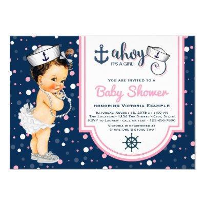 Nautical Baby Shower Pink Navy Blue Nautical Invitation