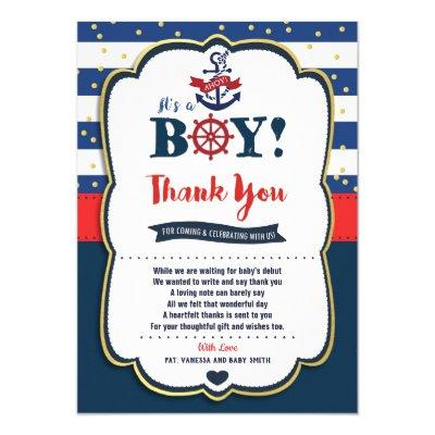 Nautical Baby Shower Thank You Card Boy