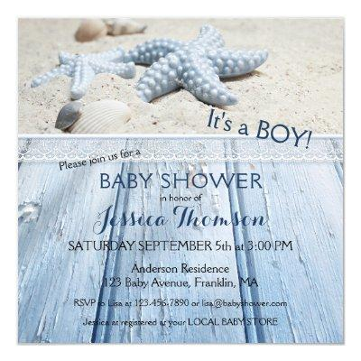 Nautical Beach Baby Boy Shower Invitations