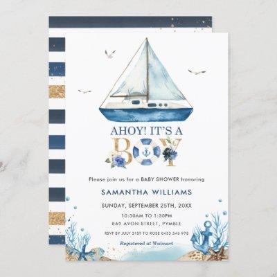 Nautical Boat Ahoy It's a Boy Baby Shower Invitation