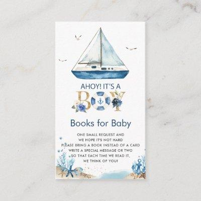 Nautical Boat Ahoy It's a Boy Books for Baby Enclosure Card
