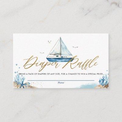 Nautical Boat Ahoy It's a Boy Diaper Raffle Enclos Enclosure Card