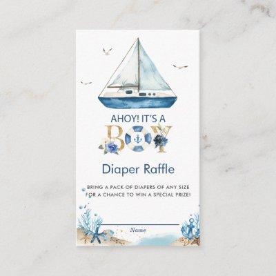 Nautical Boat Ahoy It's a Boy Diaper Raffle Enclosure Card