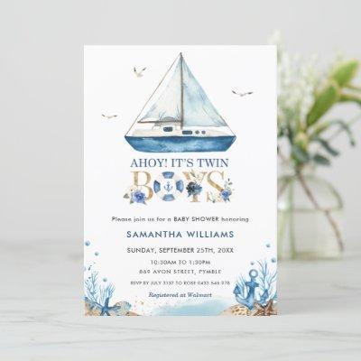 Nautical Boat Ahoy It's Twin Boys Baby Shower Invitation